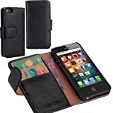 i-Blason Apple iPhone 5C Leather Book Folio Wallet Case 4G LTE AT&T / Verizon / Sprint CDMA GSM Version – Black by Leather Factory Outlet