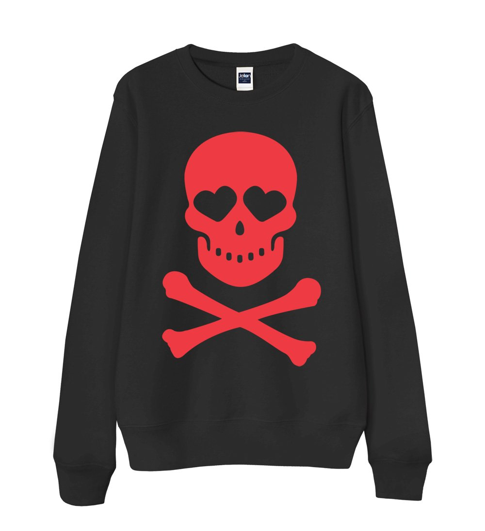 S-XXL Unisex Sweatshirt 13 Colors - Red Skull & Bones