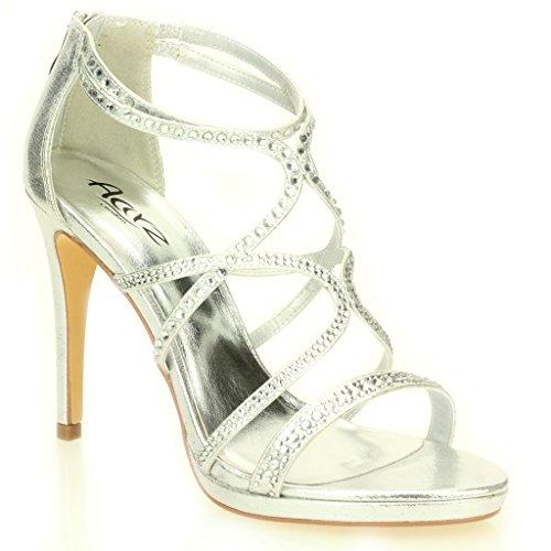 Donne Le Signore Sera Informal Martimonio Festa Tacco Alto Stiletto Diamante Peep Toe Nuziale Sandalo Scarpe Taglie (Oro, Argento, Nero)