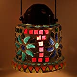 EarthenMetal Handcrafted Mosaic Glass Decorated Circular Glass Hanging Candle Light