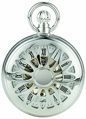 Woodford Pocket Watch 1052 Chrome Plated Cut Out Mechanical Half Hunter