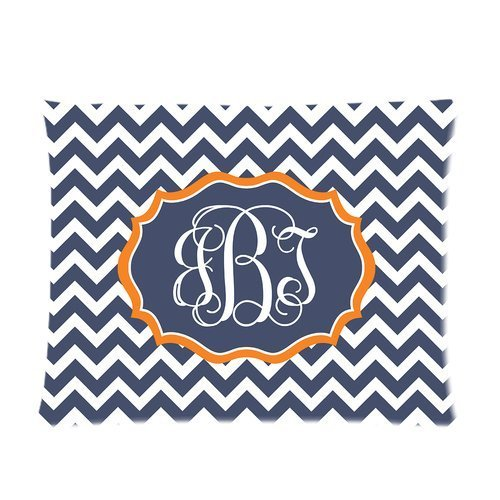 Cartrol Cotton & Polyester Custom Pillowcase-Personalized Chevron Monogram Cursive Initials Pillowcase Rectangle Pillow Cover One Side - Size 20X26 Inch front-866850