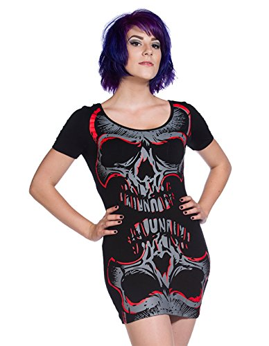 Vietato Gothic Mini dell'abito a forma di teschio - Red Skull da donna Maglia Lunga con punta in fibra di carbonio sul retro Shirt Nero  nero