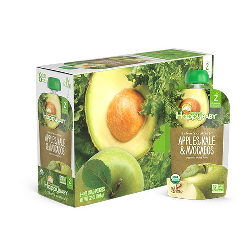 Happy Baby Clearly Crafted, Organic Baby Food, Stage 2, Apples, Kale & Avocados, 4.0oz Clear Pouch (16 Count)