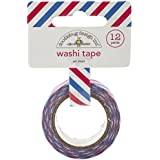 Doodlebug Washi Tape, 15mm by 12-Yard, Airmail Stripe, Red/White/Blue