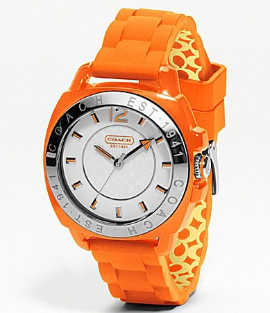 Coach Womens Boyfriend Orange Silicone Watch 14501426