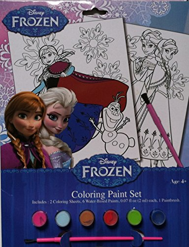 Frozen Coloring Paint Set - 2 Coloring Sheets, 6 Water-based Paints and a Paintbrush by Disney