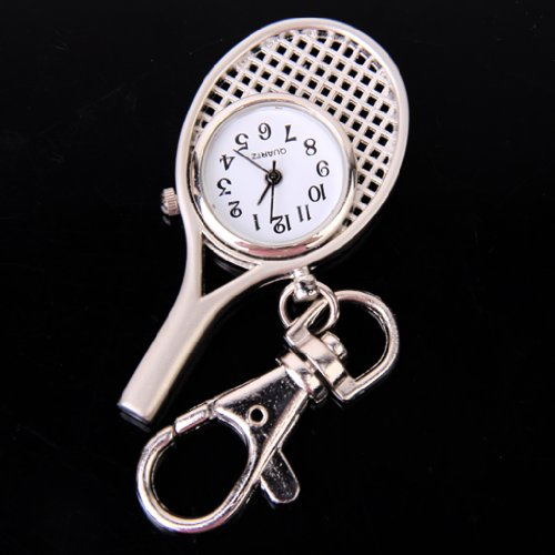 Stainless Steel Tennis Racket Clasp Key Chain Pocket Watch - Silver