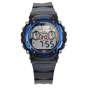 Foxnovo PASNEW PSE-278B Waterproof Children Boys Girls LED Digital Sports Watch with Date /Alarm /Stopwatch (Blue+Black)