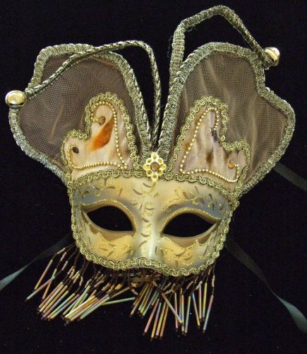 Venetian Mask Masquerade Angel Wings Brown Mardi Gras Halloween Costume