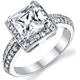 Ultimate Metals Co. 2 Carat Bague de Fiancaille et Alliance Argent Sterling Avec Zircone Cubique Princesse