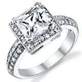 Ultimate Metals Co. 2 Carat Princess Cut CZ Sterling Silver 925 Wedding Engagement Ring Size R 1/2