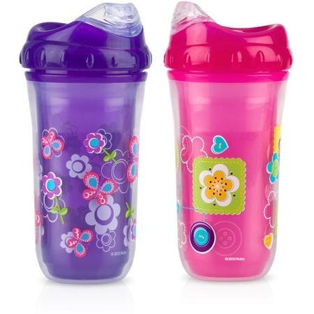 Nuby 2-Pack 9-oz Insulated Cool Sipper, Girl, BPA-Free - 1