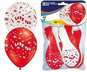 10 Luftballons * I LOVE YOU * in Rot und Weiss // Umfang 90cm und Helium-geeignet // Ich liebe dich Luftballon Hochzeit Trauung Vermählung Standesamt Herz Valentinstag