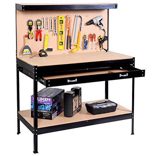 Work Bench Tool Storage Steel Frame Tool Workshop Table W/ Drawers and Peg Boar
