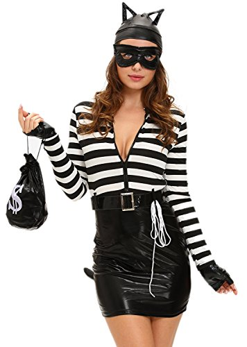 [Anmengte Halloween Masquerade Party Costume Lingerie Sexy Cosplay Bodysuit Sets (One Size, 06Black)] (Mail Order Bride Adult Costumes)