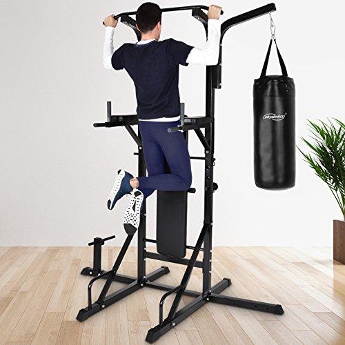 Physionics Stazione palestra multifunzione fitness palestra con panca pesi e sacco boxe