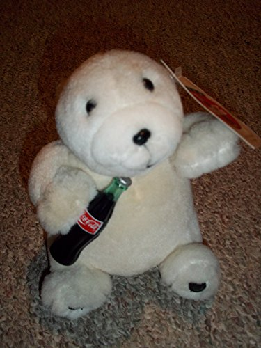 "1 X 1997 Collectible Coke Coca-Cola Brand 7"" Polar Bear with Coke Bottle- Coca Cola Plush Collection"