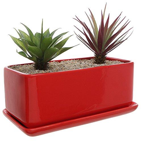 10 inch Rectangular Modern Minimalist Red Ceramic Succulent Planter Pot / Window Box with Saucer (Interior Window Planter compare prices)