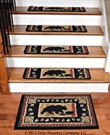 Dean Premium Carpet Stair Treads - Black Bear Cabin 31