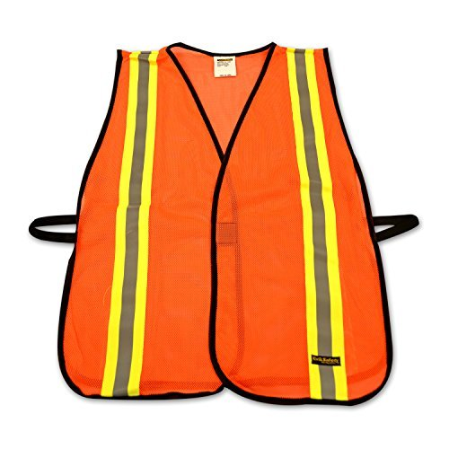 KwikSafety High Visibility Cool Mesh Traffic ANSI Safety Vests with Reflective Strips and Black Trims, Orange Reflective Safety Vests, Size 4XL/5XL