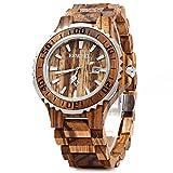 BEWELL Original Wooden Watch Men Quartz with Luminous Hands 30M Water Resistance (ZEBRAWOOD)