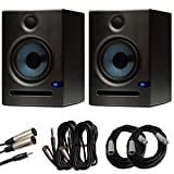 PreSonus Eris E5 Monitors (Pair) with Cables for Mixers, Interfaces, and Laptops Budle