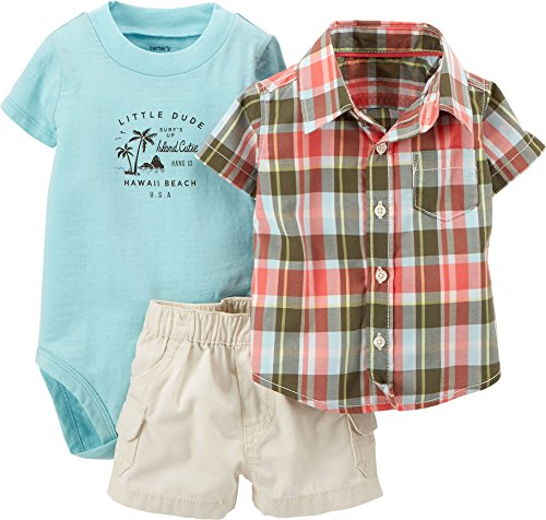 Carter's Baby Boys' 3 Piece Short Set (Baby) - Coral - 6 Months