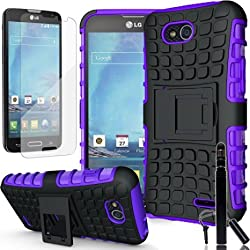 COVRWARE® LG Optimus L90 Case, [Terrapin Series] Armor Protective Case with [Kickstand] [ Included HD Film & Aluminum Sensitive Stylus Pen ] For LG Optimus L90 (T-Mobile) / D415 - Purple