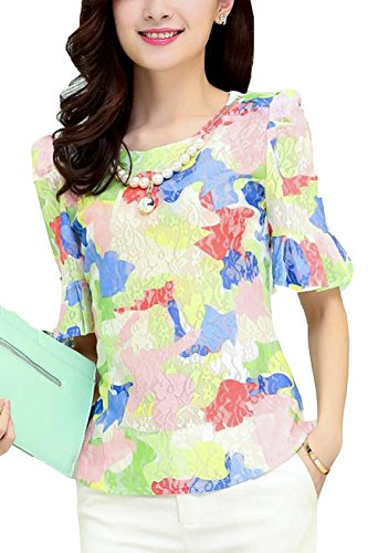Women's Summer Nail Bead Printed Chiffon Shirt Size M Powder image