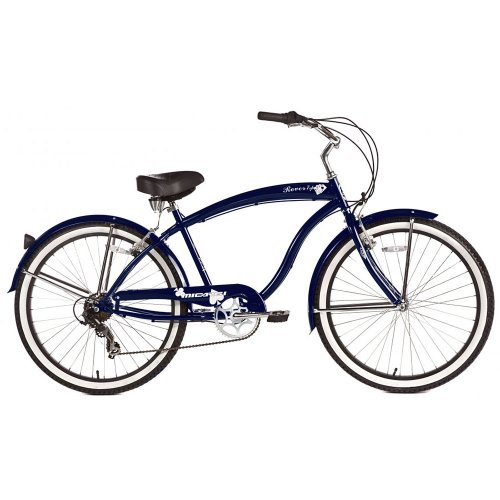 Micargi Rover 7-Speed Beach Cruiser Bike, Dark Blue, 26-Inch