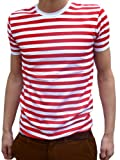 Mens Red and White Striped Indie Mod Breton T-shirt Tee