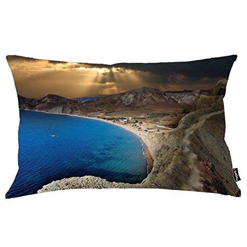 i FaMuRay Decorativa per Cuscino (Insert & Cover), Golden Sunset Light Reaching Through The Dark Clouds King Size 20x36