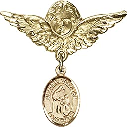 Gold Filled Baby Badge with Blessed Caroline Gerhardinger Charm and Angel w/Wings Badge Pin 1 1/8 X 1 1/8 inches