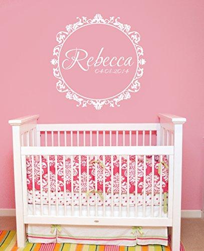 Wall Decal Vinyl Sticker Decals Art Decor Design Custom Name Monogram Babydate Birth Frame Nursery Bedroom Headboard(R1195) front-1008887