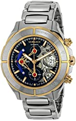Versace Men's VK8020013 DV ONE Skeleton Chrono Analog Display Automatic Self Wind Silver Watch