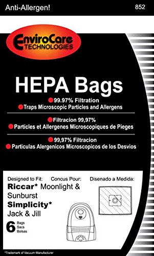 Riccar Bag Paper Moonlite Canister HEPA 6 Pack Jack & Jill Sunburst GE 169072 Pizzaz Type Z (eRSR-1449) (Type Z Riccar compare prices)