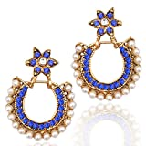 Glowing pearl flower earring with blue stone. Indian ethnic bollywood jewelry earring b2b