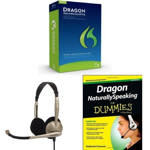 Bundle: Dragon Naturallyspeaking Premium 12 With Koss Cs100 Speech Recognition Headset And Dragon Naturallyspeaking For Dummies