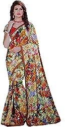LolyDoll Women's Cotton Blend Floral Print Multicolor Bollywood Saree, Casual/Festival_SR37