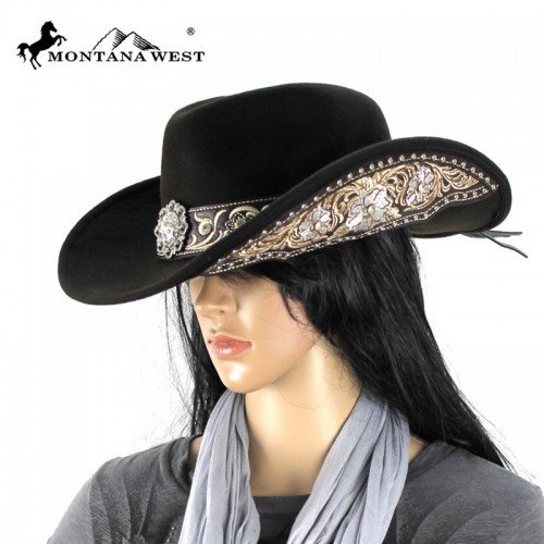 Montana West Cowgirl Collection Embroidered Cowgirl Hat with Rhinestone and Conchos