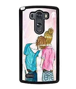 Fuson Love Couple Back Case Cover for LG G3 - D4031
