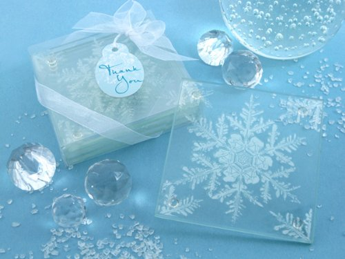 Shimmering Snow Crystal Frosted Snowflake Glass Coasters (Set of 4, 12 Pack) - Winter Seasonal Wedding and Party Favor Keepsake Gift Idea