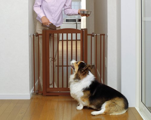 Richell Wood One-Touch Pet Gate, Autumn Matte Finish