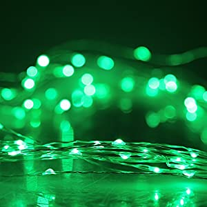 (5M 16.4FT 50LED,Green) DBPOWER Led String Lights Copper Wired LED Starry Light for Outdoor, Gardens, Christmas, Homes, Wedding and Party from DBPOWER