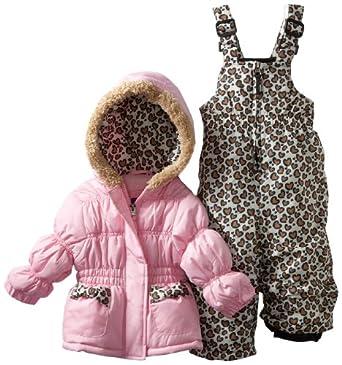Pink Platinum Baby-Girls Infant Puffer Leopard Snow Bib and Jacket Set, Pink, 18 Months