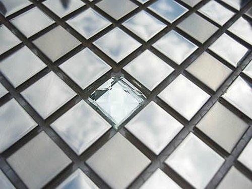 FLIESENTOPSHOP Glasmosaik Edelstahlmosaik Mosaik Metall Metalleffekt Fliese silber diamant top
