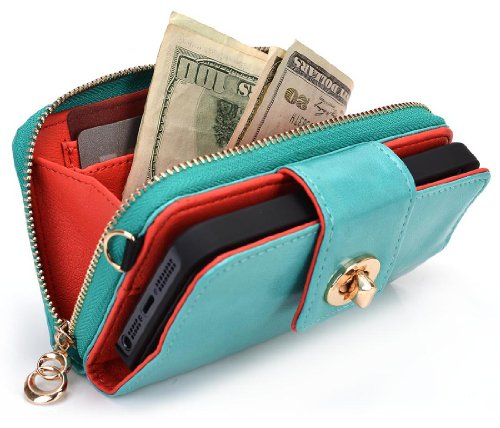 Best Price Geek by KROO Woman's Wristlet Built-in Stand Wallet Clutch for Apple iPhone 5 (Fits 16GB 32GB 64GB) - Sea Green / Glossy Finish + Includes EnvyDeal Velcro Tie
