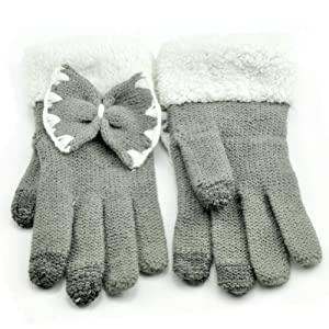 Tech-Smart Touch Screen Compatible Cold Weather Woolen Pure Color Gloves Design Bowknot Pile Ruche Warm Cute Gloves