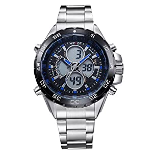 Mens Watch LCD Sport Dual Display Analog Digital MultiFunction Metal Band Quartz WH-113